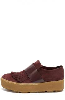 Замшевые ботинки с бахромой и ремешком из кожи Vic
