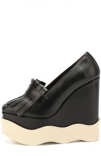 Кожаные туфли на фигурной танкетке Paloma Barcelo