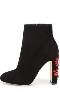 Замшевые ботильоны Vally на каблуке с декором Dolce & Gabbana