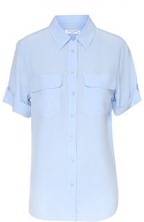 Шелковая блуза с коротким рукавом и накладными карманами Equipment