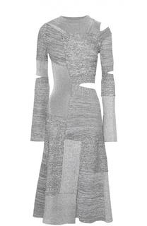 Приталенное вязаное платье с декоративными разрезами Proenza Schouler