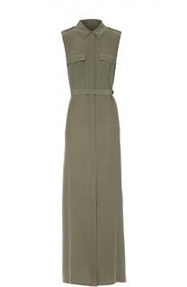 Шелковое приталенное платье-рубашка без рукавов Equipment