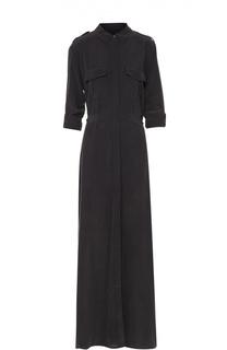 Шелковое приталенное платье-рубашка с укороченным рукавом Equipment