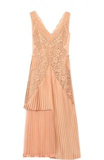 Приталенное плиссированное платье с кружевной отделкой Stella McCartney