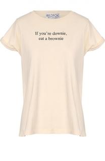 Хлопковая футболка свободного кроя с контрастной надписью Wildfox