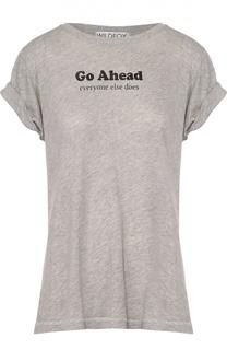 Хлопковая футболка прямого кроя с контрастной надписью Wildfox