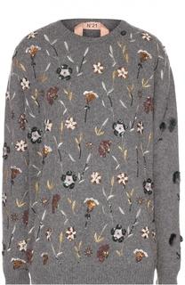 Удлиненный пуловер свободного кроя с декоративной вышивкой No. 21