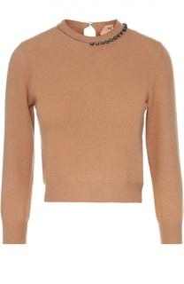 Укороченный шерстяной пуловер с декоративной отделкой No. 21