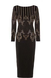 Платье-футляр со стразами и открытой спиной Balmain
