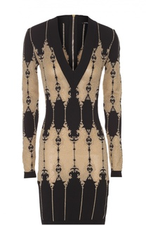 Платье-футляр с V-образным вырезом и контрастным принтом Balmain