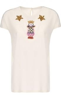 Шелковый топ прямого кроя с декоративной вышивкой Dolce & Gabbana