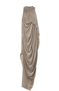 Бархатное платье асимметричного кроя с драпировкой Rick Owens