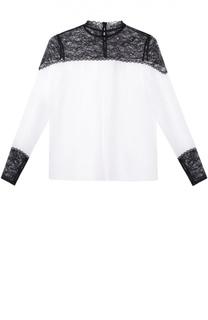 Шелковая блуза прямого кроя с контрастными кружевными вставками Alice + Olivia