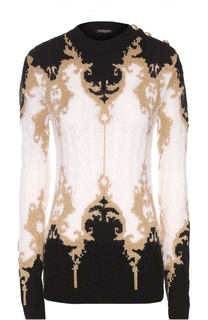 Пуловер с круглым вырезом и контрастным принтом Balmain