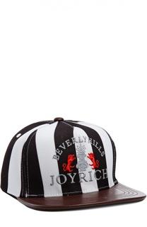 Кепка с вышивкой и кожаным козырьком Joyrich