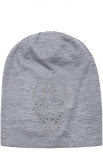 Кашемировая шапка тонкой вязки с декором Thomas Wylde