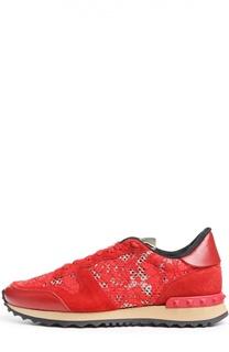 Кроссовки Lace Sneaker с кружевом Valentino