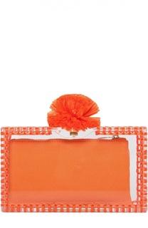 Клатч Pom Pom Pandora с отделкой из рафии Charlotte Olympia
