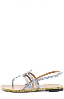 Кожаные сандалии с декором Roberto Cavalli