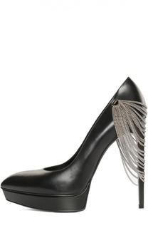 Кожаные туфли Janis с цепочками Saint Laurent