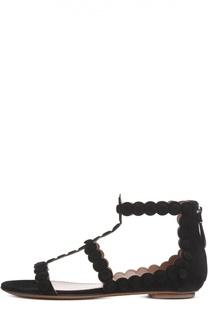 Замшевые сандалии с задником на молнии Alaia