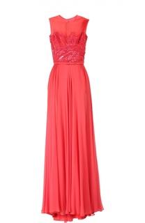 Вечернее платье с ремнем Elie Saab