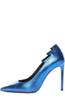 Кожаные туфли Paris с фигурным вырезом Saint Laurent