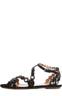 Замшевые сандалии с декоративными вставками Alaia