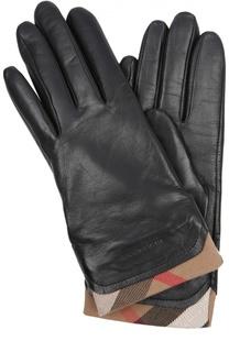 Кожаные перчатки с отделкой из клетчатого текстиля Burberry