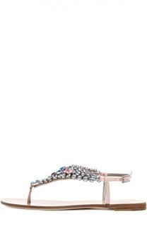 Кожаные сандалии с кристаллами Kiton