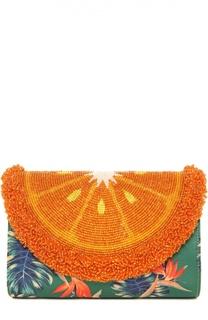 Клатч Orange 70s Black Mini Curved с вышивкой бисером Sarah's Bag