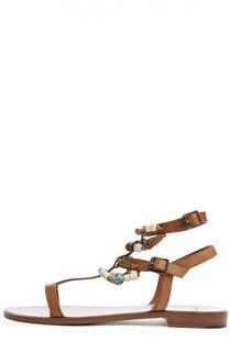 Кожаные сандалии Nu Pieds с декором Saint Laurent