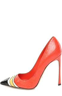 Кожаные туфли с тиснением на шпильке Sergio Rossi