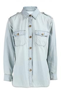 Джинсовая блуза прямого кроя с накладными карманами и погонами Current/Elliott