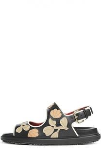 Кожаные сандалии Fussbett с нашивками Marni