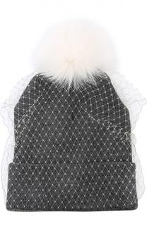 Шапка с вуалью и помпоном из меха лисы House Of Lafayette