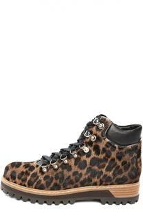 Ботинки с меховой отделкой на шнуровке Le Silla