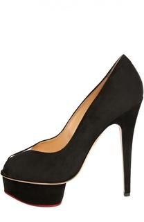 Замшевые туфли Daphne с открытым мысом Charlotte Olympia