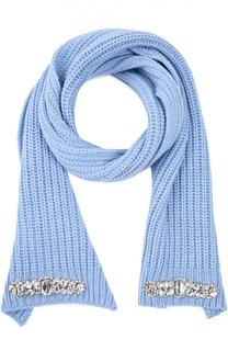 Шерстяной шарф с вышивкой стразами Blugirl