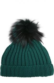 Кашемировая шапка с помпоном из меха лисы Dolce & Gabbana