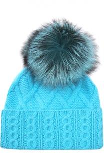 Кашемировая шапка с помпоном из меха лисы William Sharp