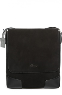 Замшевая сумка-планшет с логотипом бренда Brioni