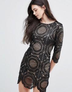 Кружевное платье мини с вышивкой Goldie London Calling - Черный