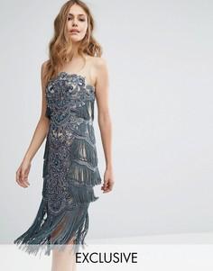 Платье миди со сплошной вышивкой и бахромой A Star Is Born - Темно-синий