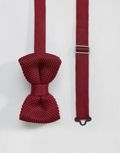 Бордовый вязаный галстук-бабочка в футляре 7X - Красный