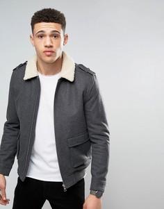 Куртка-пилот из 50% шерстяного сукна с воротником борг Tokyo Laundry - Серый