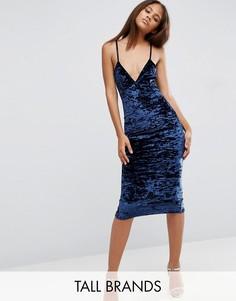 Бархатное платье миди Missguided Tall - Темно-синий