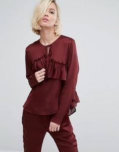 Блузка с оборкой First & I - Фиолетовый