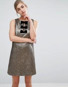 Цельнокройное платье металлик с бархатными бантами Miss Selfridge - Золотой