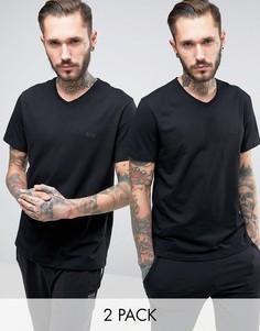 2 черных свободных футболки с V-образным вырезом BOSS Black By Hugo Boss - Черный
